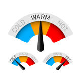 Cold, warm and hot temperature gauge Stock Photos