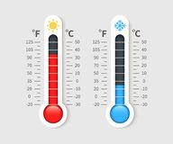Cold warm thermometer. Temperature weather thermometers with celsius and fahrenheit scale. Thermostat meteorology vector