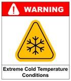 Cold warning sign , snow warning - triangular sign , vector illustration Royalty Free Stock Photos