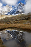 Cold water. The Small pool reflecting huge mountain in a snow Royalty Free Stock Photos