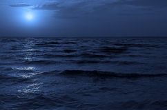Cold water. Moonlight night on sea of Azov Royalty Free Stock Images