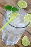 Cold water drink with ice cubes Stock Photos
