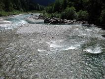 Cold Water Flowing In A Mountain River In North Cascades Royalty Free Stock Images