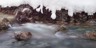 Cold water flowing through rocks and stones Royalty Free Stock Photography
