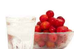 Cold water and fruits Stock Image