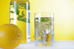 Cold water with lemon and mint Royalty Free Stock Photography