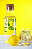 Cold water with lemon and mint Stock Image