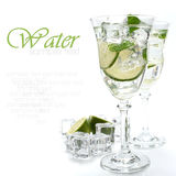 Cold water with lime Royalty Free Stock Images