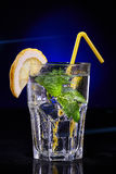 Cold Water with Mint, Lemon and Straw Stock Images