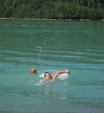 Cold Water Swim. A man and his dog take a cold swim in a freezing green glacial lake Stock Image