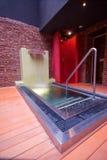Cold water wih sauna. At night Royalty Free Stock Photos
