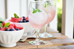 Cold watermelon drink on the table outdoors Stock Photos