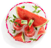 Cold watermelon juice decorated with mint, top view Stock Photos