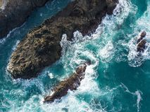 Aerial of Rocky Mendocino Coast in Northern California. The cold waters of the Pacific Ocean wash against the beautiful coastline of Mendocino in northern Royalty Free Stock Photography
