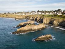 Aerial of Pacific Ocean and Mendocino Coast Stock Photography