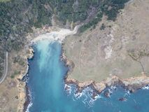 Aerial of Sonoma Coastline in California. The cold waters of the Pacific Ocean wash against the rocky coastline of Sonoma in northern California. This scenic stock images