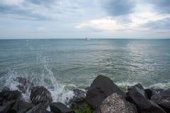 Cold wave in Black Sea, Bulgaria Stock Photo