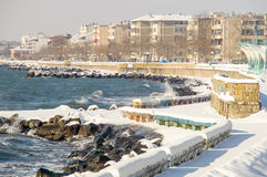 Cold wave in the Black Sea town of Pomorie snowy embankment in winter Bulgaria 2017 Stock Photography