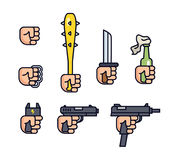 Cold weapon and firearms collection. Weapons in the hand. Vector line icon set for mobile game. Fist, brass knuckles Royalty Free Stock Images