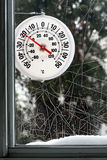 Cold Weather. Thermometer indicating freezing temperatures in winter royalty free stock photos