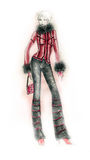 Cold Weather Outfit Fashion Illustration Stock Photo