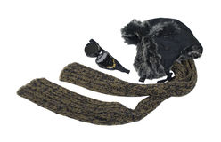 Cold Weather Steampunk Aviator Kit. With fur hat, eye protecting goggles and scarf - path included Royalty Free Stock Image