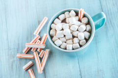 Cold Weather Winter Drink Hot Chocolate With Marshmallows and Pe Stock Image