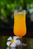 Cold wet orange juice. On glass Royalty Free Stock Photography
