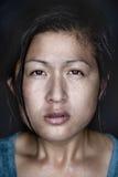 Cold wet woman. Woman portrait fine art wet face conceptual headshot Stock Images