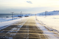 Cold wind on norwegian road Royalty Free Stock Photos