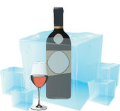 Cold wine. Alcoholic beverage black wine served cold Stock Photography