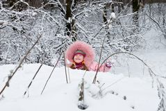 Cold Winter. Little girl in a winter clothing in a winter woods Royalty Free Stock Images