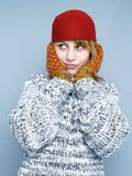 Cold winter. Woman with glove and hat in cold winter Stock Photos