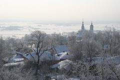 Cold winter. Winter in Vladimir, russian town. About -30C stock image