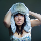 Cold winter. Photo of beautiful cold winter woman Stock Image