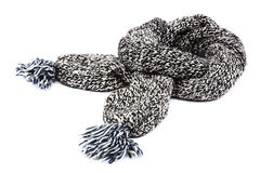 Cold winter clothing. Wool scarf on white background. Stock Image