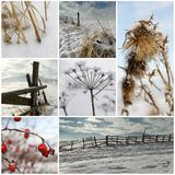 Cold winter collage Stock Photos