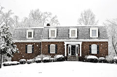 Cold Winter Day. Snow falling on an executive home on a cold winter day Royalty Free Stock Photo