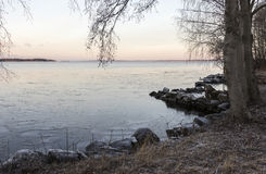 Cold winter day lakescape Royalty Free Stock Images