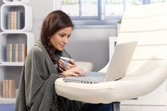 Cold winter day with laptop at home Stock Photos