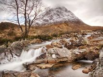 Cold winter day on meadow at river Coupall at delta to river Etive. Near Glencoe in the Scottish highlands Stock Photo