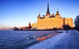 Cold winter day in Stockholm royalty free stock photography