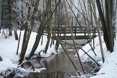 Watercolor effect of a stream in the woods and bridge. Cold winter day with a stream flowing through the woods with a snow covered ground and bridge in back royalty free stock photography