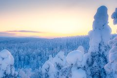 Cold winter day sunset view. Photo from Sotkamo, Finland.  royalty free stock image