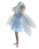 Cold Winter Fairy. With a cute red nose wearing a dress decorated with snowflakes, 3d digitally rendered illustration isolated on a white background Stock Photos