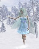 Cold Winter Fairy Catching Snowflakes. Cold winter fairy with a cute red nose catching snowflakes in a snowy woodland, 3d digitally rendered illustration Royalty Free Stock Image