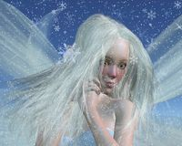 Cold Winter Fairy Portrait. Close-up protrait of a cold winter fairy with a cute red nose on a snowy winter night, 3d digitally rendered illustration Stock Photography