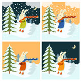 Cold winter with freezing hare. Vector image of a Hare who freeze at winter Royalty Free Stock Images
