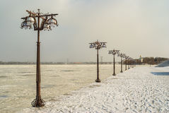 Cold winter on a frozen river Dnepr embankment Stock Photo