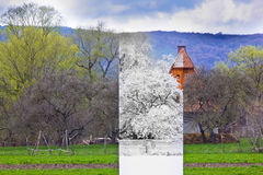 Cold winter and hot summer in one photo. Cold winter and hot summer Royalty Free Stock Photos